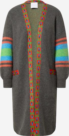 DELICATELOVE Pletený kabát 'Anna' - modrá / sivá / jablková / červená, Produkt