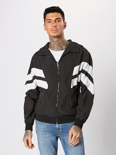 Urban Classics Jacken 'Crinkle Panel Track Jacket' in schwarz / weiß: Frontalansicht