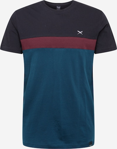 Iriedaily T-Shirt 'Court' in türkis / dunkelgrau / burgunder, Produktansicht