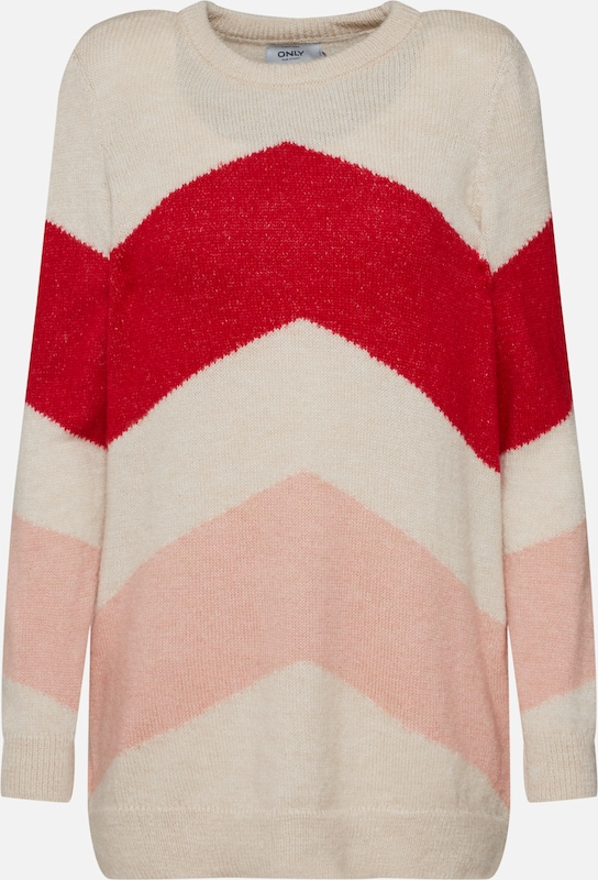 ONLY Pullover 'KIMMIE' in creme / rot, Produktansicht
