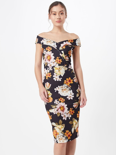 Missguided Sukienka etui 'PRINTED BARDOT' w kolorze jasnozielony / mieszane kolory / czarny / białym: Widok z przodu