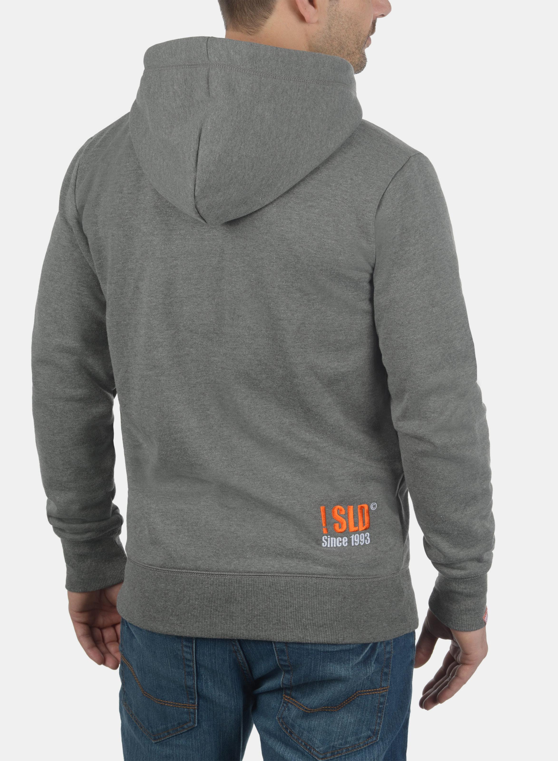 Kapuzensweatjacke 'benn Weiß High neck' In GrauOrange solid n0kPO8w