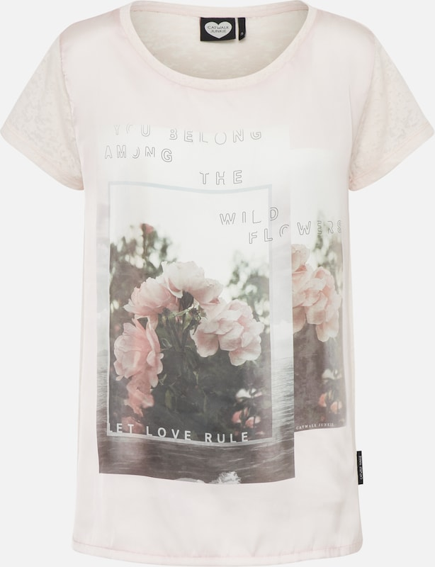 Junkie Garden' Catwalk T shirt 'rose Rose En 8wOnkP0