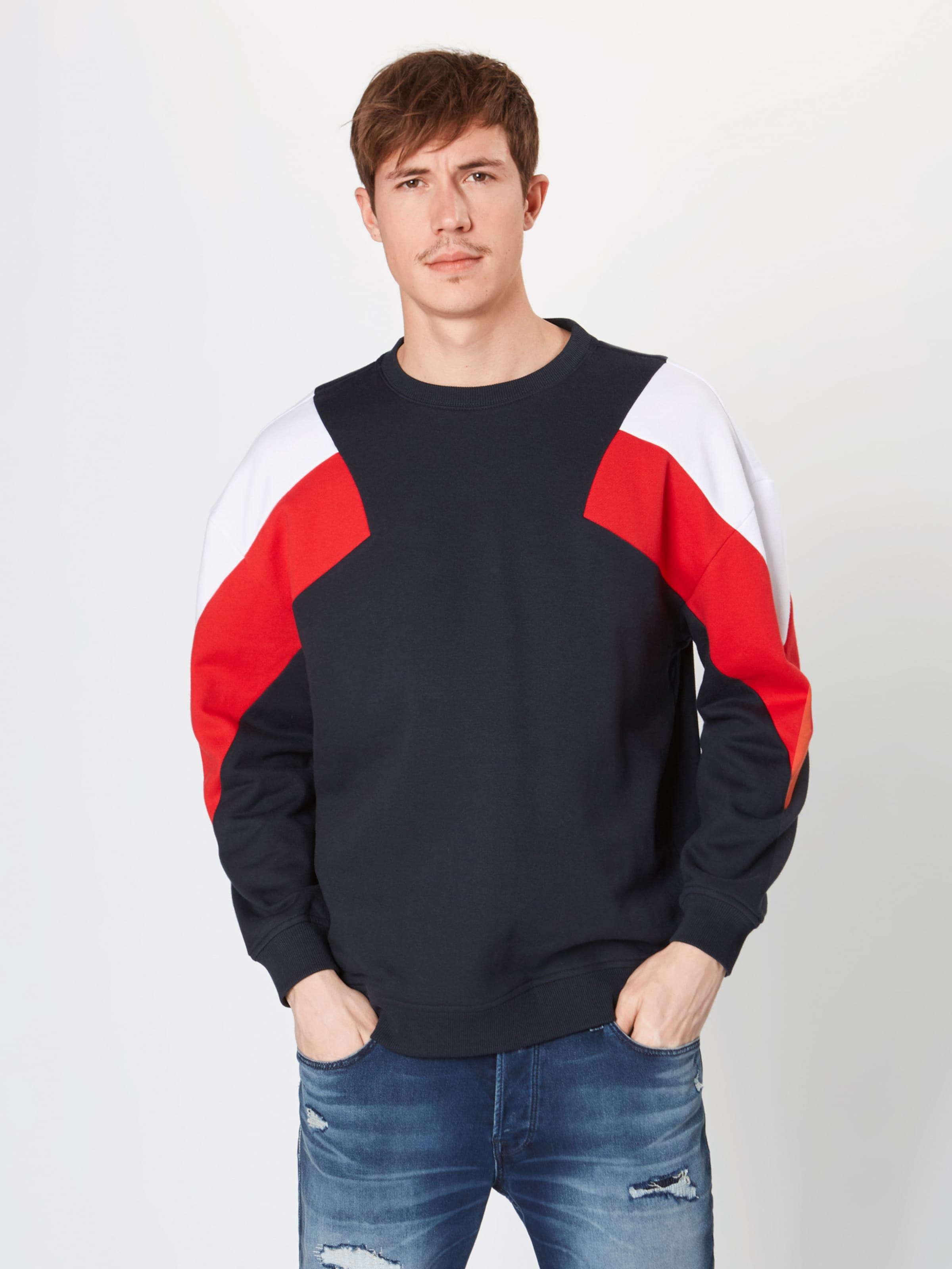 NavyRot Weiß Urban Classics Sweatshirt In j534ARLq