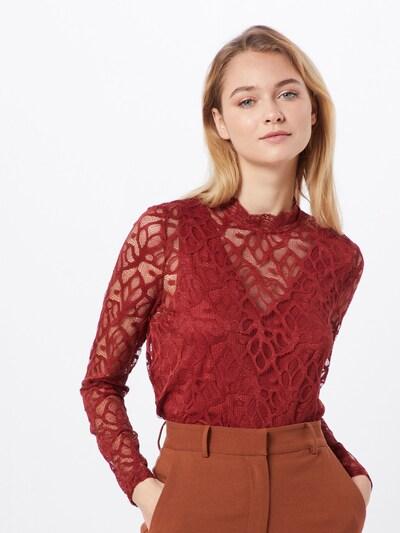 ONLY Koszulka 'ONLDORA L/S LACE TOP JRS' w kolorze ognisto-czerwonym: Widok z przodu