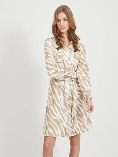 OBJECT Blusenkleid in hellbraun / weiß, Modelansicht
