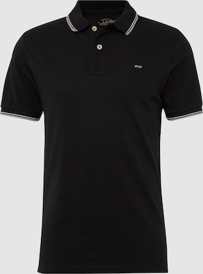 JACK & JONES Shirt 'JJECONTRAST STRIPE POLO SS NOOS' in Zwart