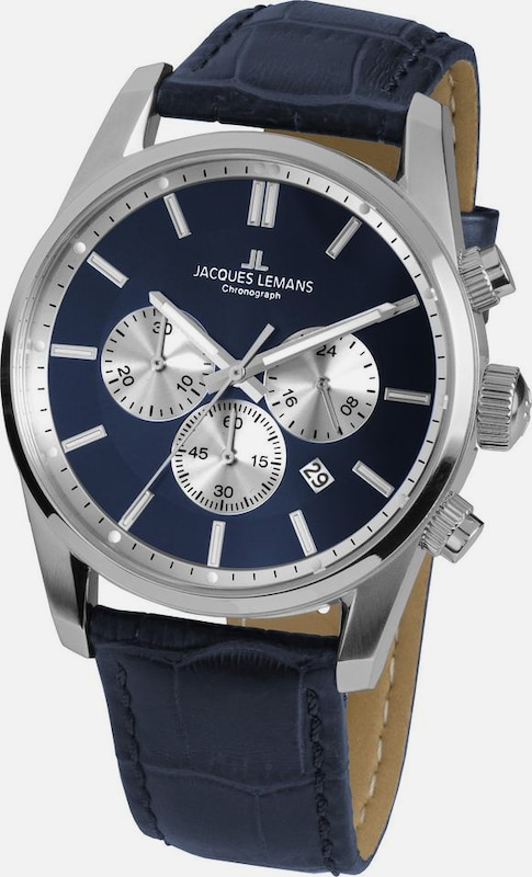 Jacques Lemans Chronograph in navy / silber, Produktansicht