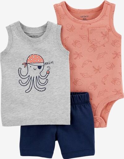 Carter's Body + Sweatshorts + Top in nachtblau / grau / koralle / pastellorange / weiß, Produktansicht