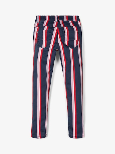 NAME IT Twillhose in dunkelblau / rosa / rot: Frontalansicht