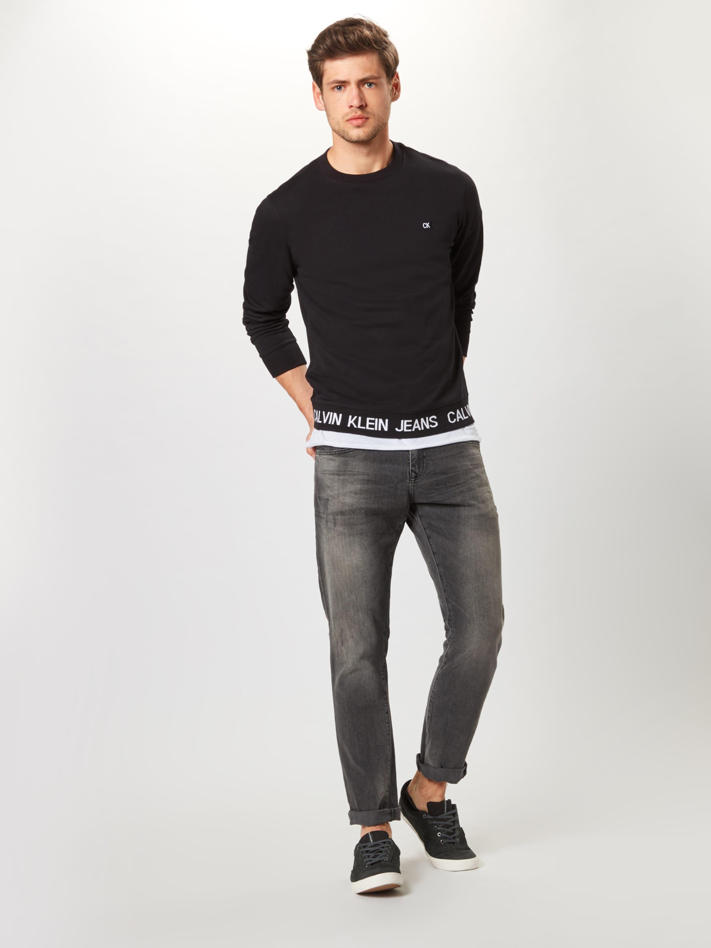Sweatshirts Jeans SchwarzWeiß 'instit Cn' Logo Calvin Klein Waistband In n80mwOvN