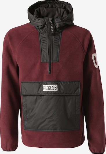 Young & Reckless Fleecepullover 'Polar Fleece' in rot / bordeaux / schwarz / weiß, Produktansicht