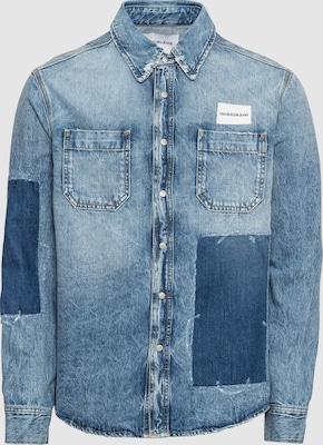 Calvin Klein Jeans Overhemd 'PATCHED UTILITY SHIRT' in Blauw denim