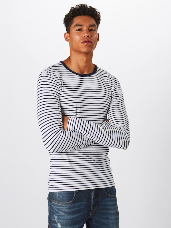 SCOTCH & SODA Langarmshirt 'Classic long sleeve jersey tee' in navy / weiß: Frontalansicht