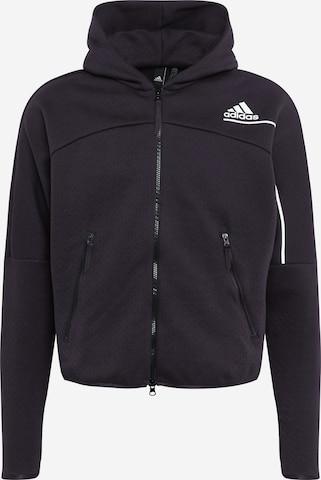 ADIDAS PERFORMANCE Athletic Zip-Up Hoodie 'Z.N.E.' in Black