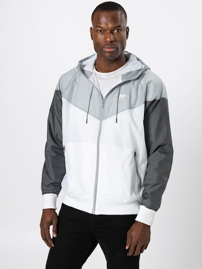 Nike Sportswear Jacke in grau / dunkelgrau / weiß: Frontalansicht