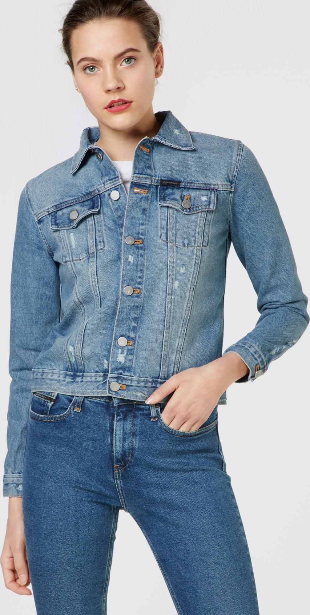 calvin klein jeans jeansjacke 39 clean line trucker vintage a 39 in blau about you. Black Bedroom Furniture Sets. Home Design Ideas