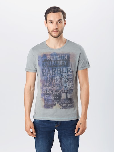 CAMP DAVID T-Shirt en bleu / bleu foncé / gris: Vue de face