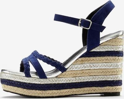 LASCANA Sandalette in hellbeige / dunkelblau / silber, Produktansicht