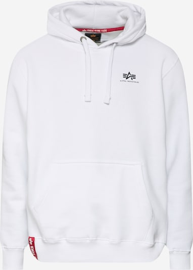 ALPHA INDUSTRIES Hoody 'Small Logo' in weiß: Frontalansicht