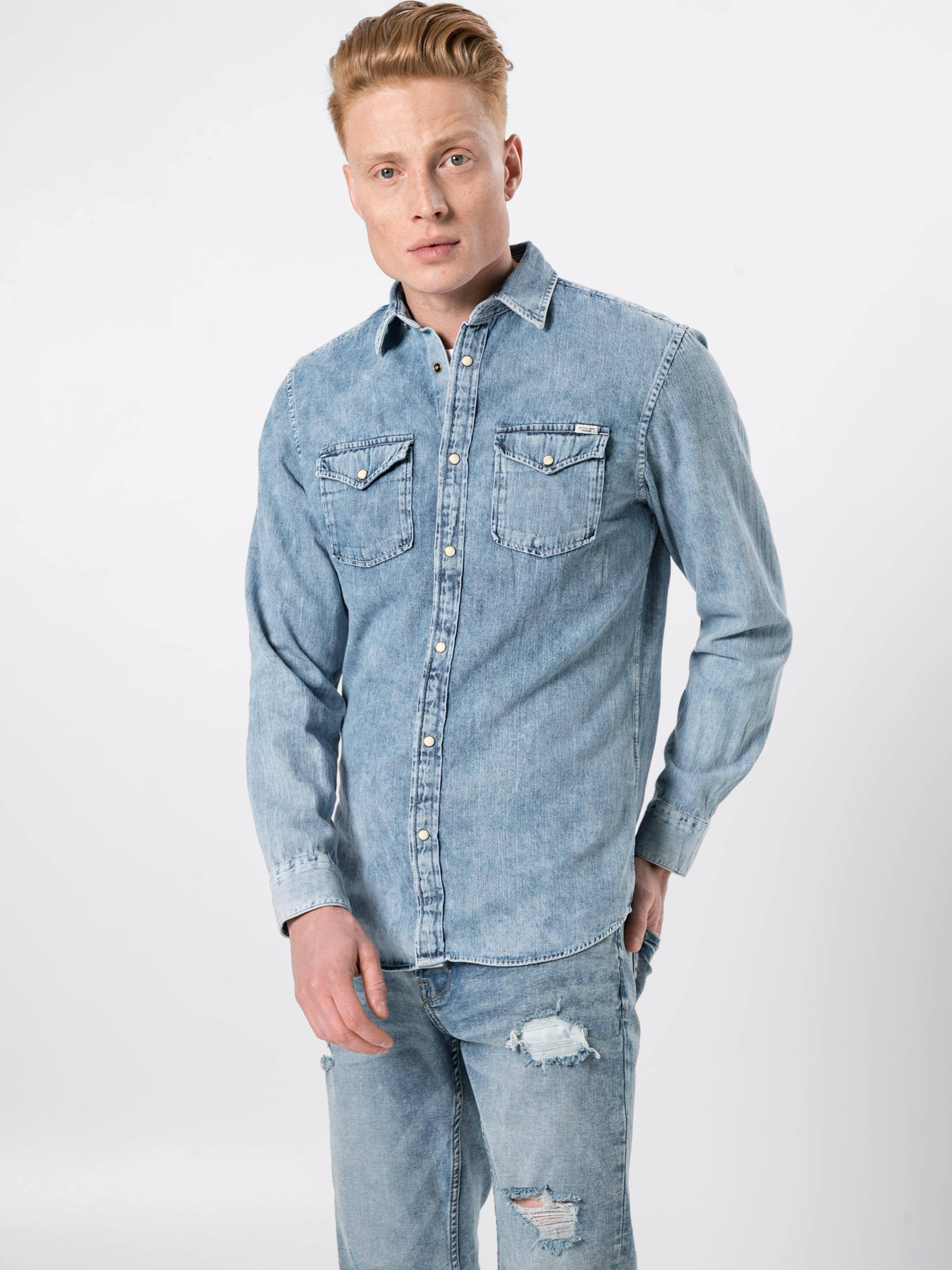 Jackamp; Denim Bleu Jones 'jjesheridan Shirt L s' Chemise En Pw0knO