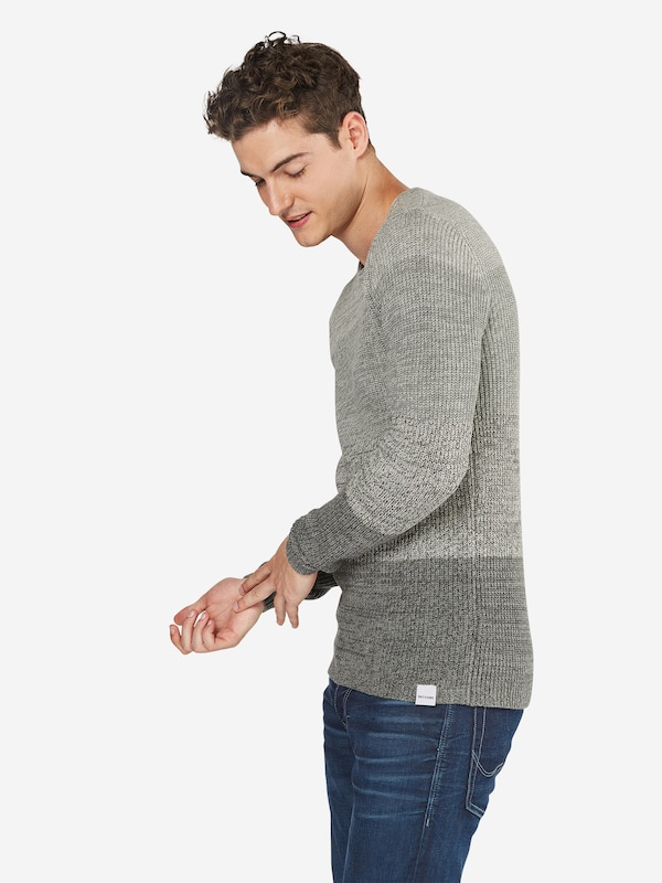 Only & Sons Pullover 'onsSATO STRIPED KNIT NOOS' in grau: Frontalansicht