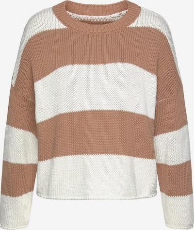 LASCANA Pullover in taupe / weiß, Produktansicht