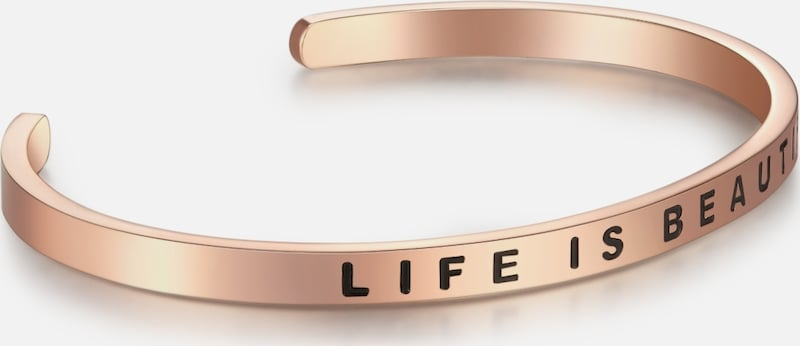 Nahla Jewels Edelstahlarmband Bangle mit LIFE IS BEAUTIFUL-Gravur