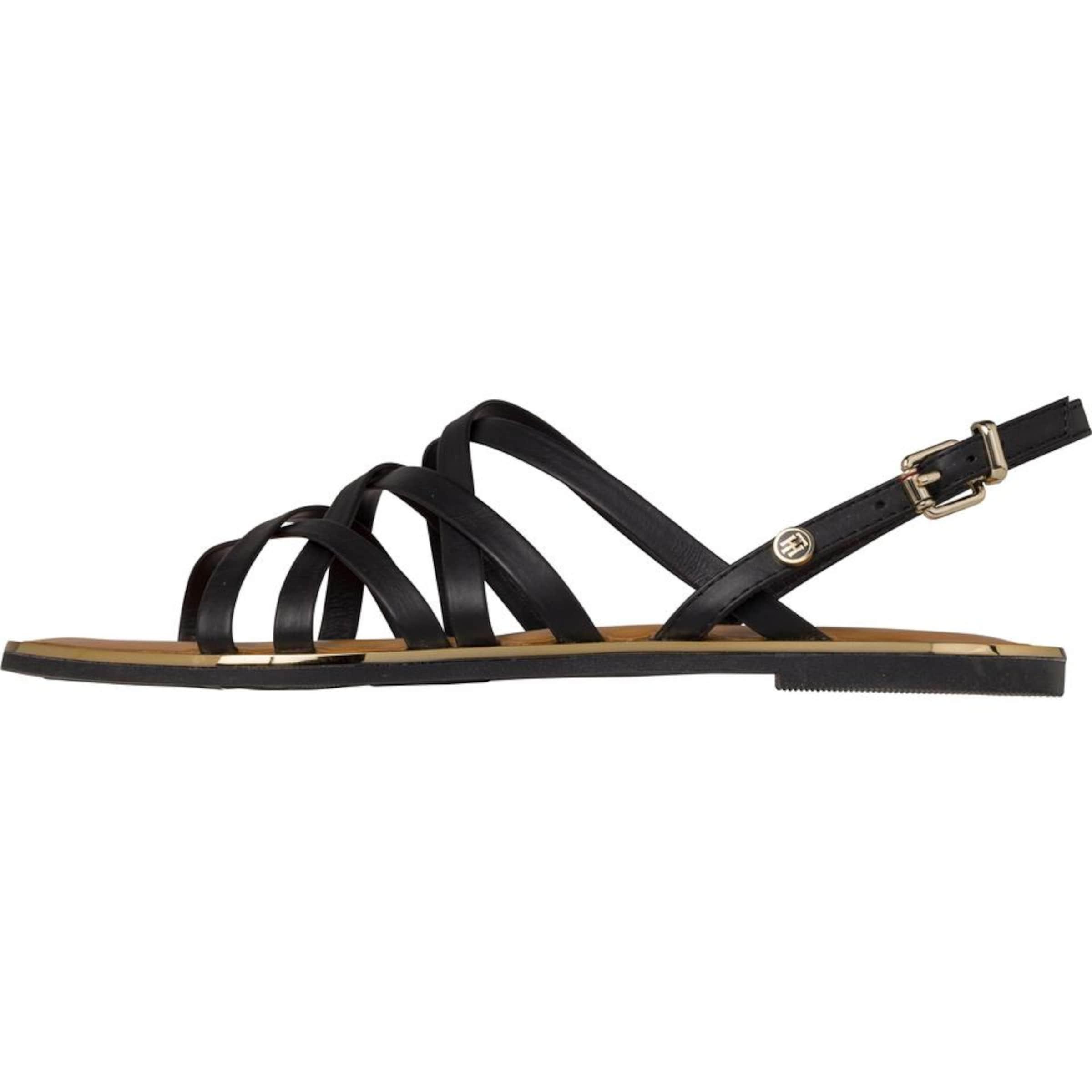 TOMMY HILFIGER   Sandalen 'LEATHER STRAPPY FLAT SANDAL' Schuhe Gut getragene Schuhe