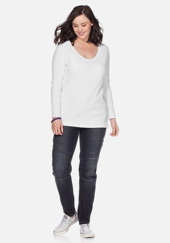Sheego Rundhalsausschnitt Shirt Weiß Casual Long BwUSzB