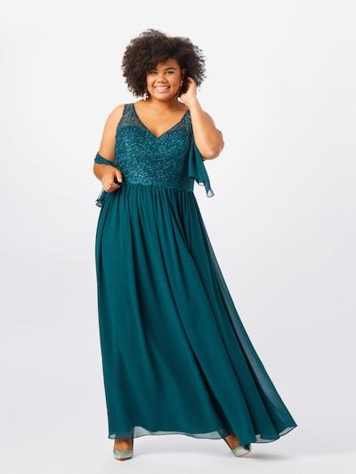 My Mascara Curves Abendkleid 'LACE V' in dunkelgrün, Modelansicht