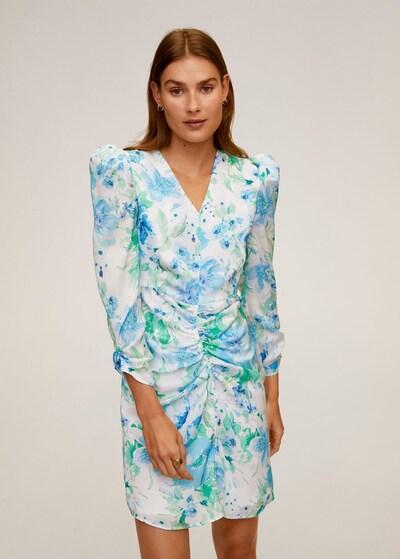 MANGO Kleid in türkis / hellblau / weiß, Modelansicht