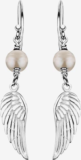 Nenalina Ohrringe 'Feder' in silber / perlweiß, Produktansicht