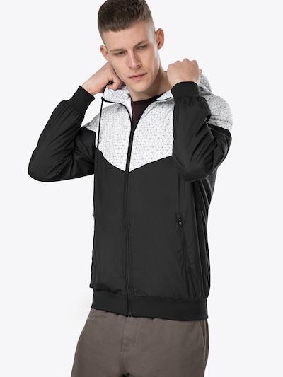 Urban Classics Jacke 'Pattern Arrow Windrunner' in schwarz / weiß: Frontalansicht