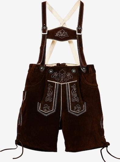 MARJO Kinder Lederhose, mit Stickerei in dunkelbraun / weiß, Produktansicht