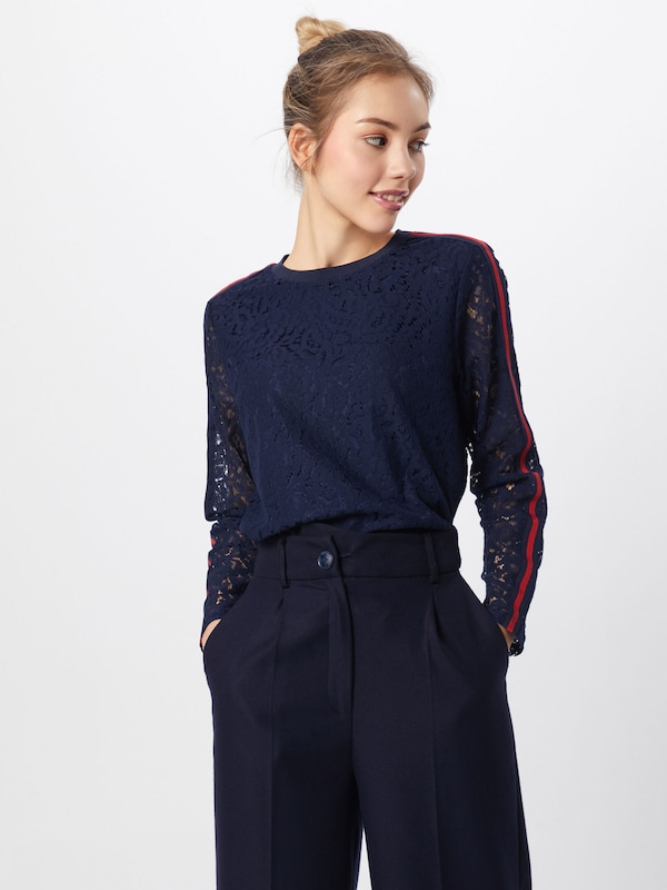 Saint Tropez En T shirt Blouse' MarineRouge Bleu 'lace FcJTKl1