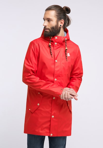 Schmuddelwedda Regenmantel in rot, Modelansicht