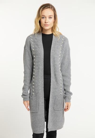 Usha Strickjacke in graumeliert / perlweiß, Modelansicht
