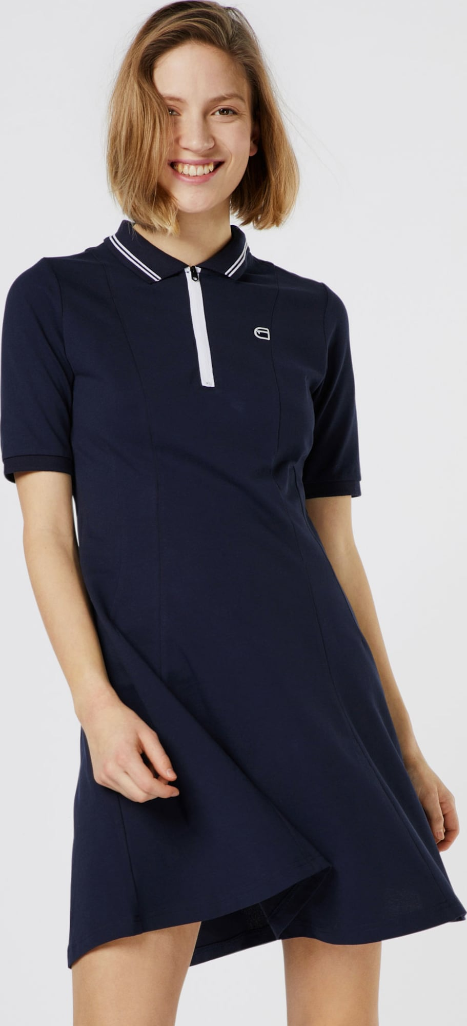 g star raw kleid 39 polo flare dress 39 in blau about you. Black Bedroom Furniture Sets. Home Design Ideas