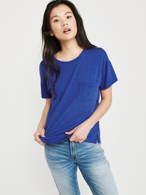 Abercrombie & Fitch Shirt 'SB19-SS DROP SHOULDER TEE COBALT' in blau: Frontalansicht