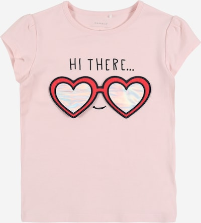 NAME IT Shirt 'HAPINA' in rosa / magenta / weiß, Produktansicht