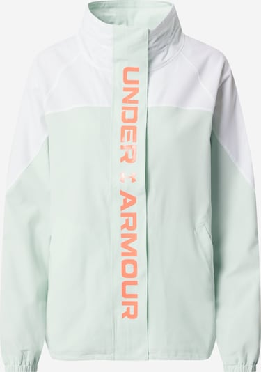 UNDER ARMOUR Veste de sport 'Recover' en vert pastel / orange foncé / blanc, Vue avec produit