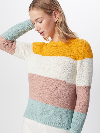 ONLY Strickpullover 'GEENA' in gelb / rosa / weiß, Modelansicht