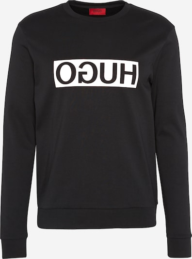 HUGO Sweatshirt 'Dicago' in de kleur Zwart / Wit, Productweergave