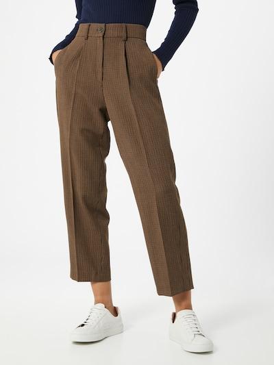 BRAX Kalhoty se sklady v pase 'Marcie' - světle béžová / hnědá / černá: Pohled zepředu
