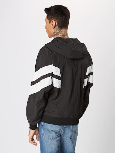 Urban Classics Jacken 'Crinkle Panel Track Jacket' in schwarz / weiß: Rückansicht