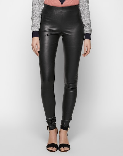SELECTED FEMME Leggings 'SFSYLVIA MW STRETCH LEATHER' in schwarz, Modelansicht