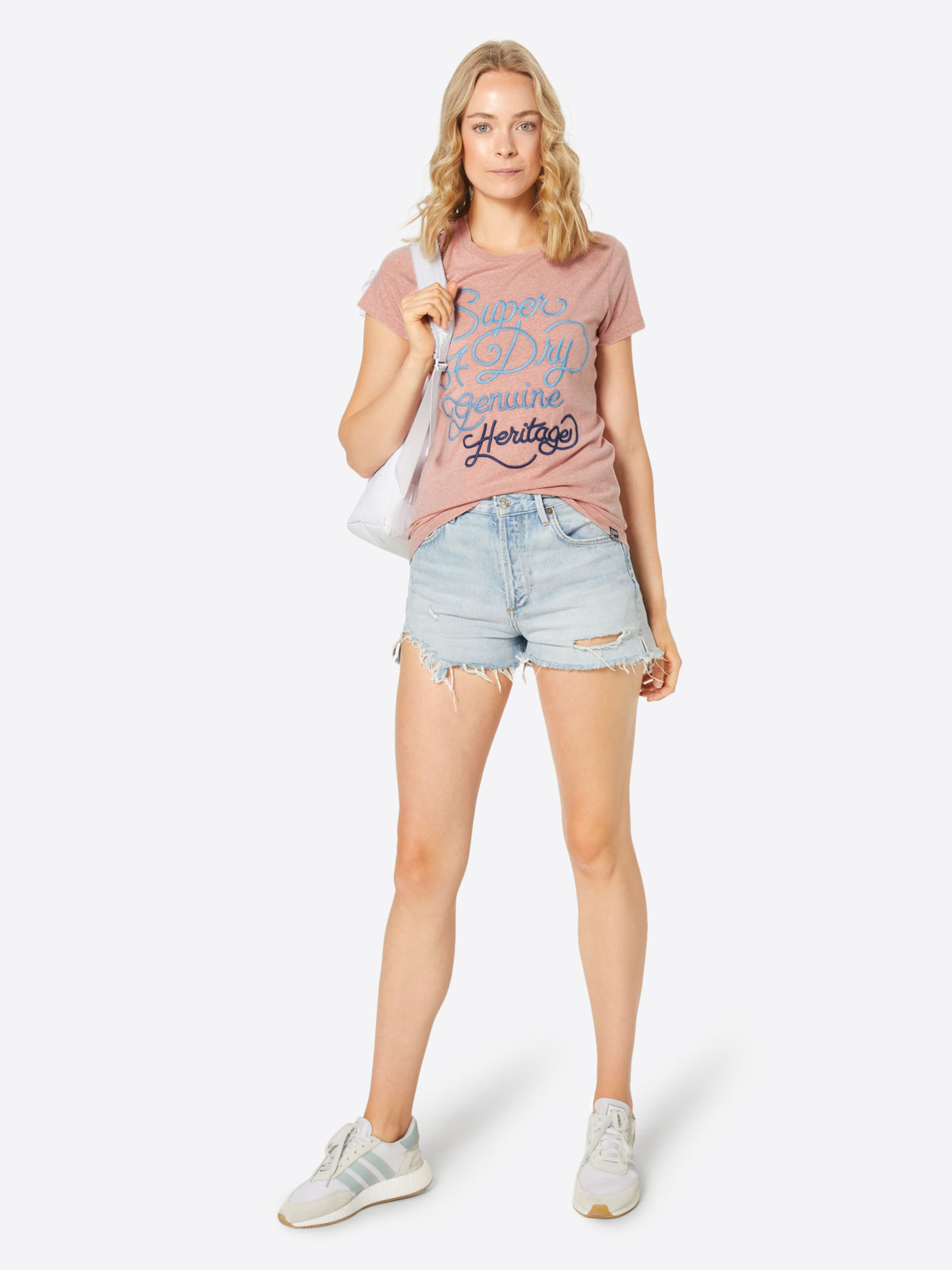 Superdry '67 Tee' Shirt Fade Genuine T Embroidery BlauRosé Entry In SUzMqGVp