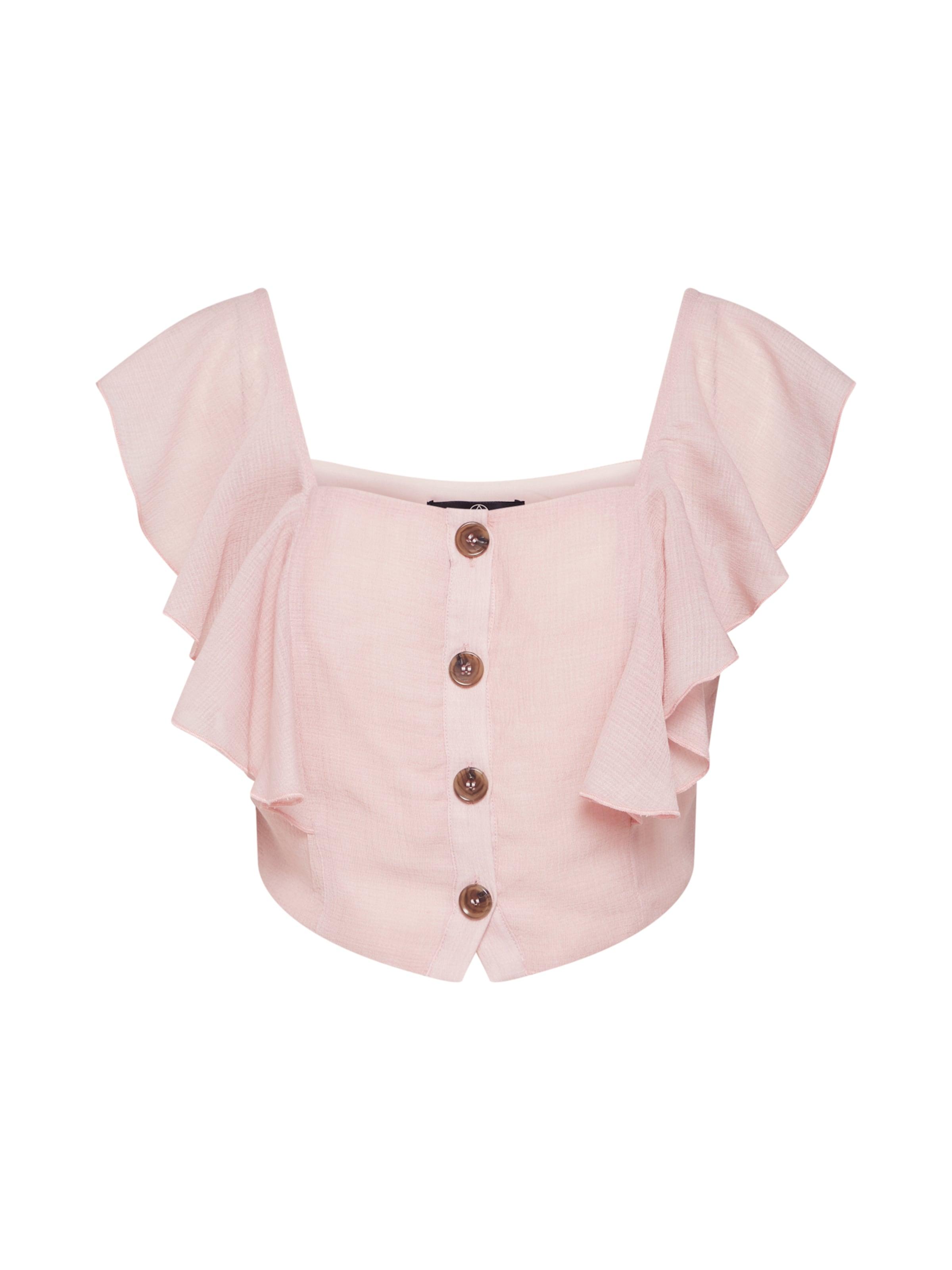 'horn Frill Rose Top Pink' Off Button Shoulder Haut En Missguided wn8OkX0P