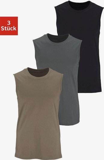 Maier Sports Muscleshirts (3 Stück) in grau / oliv / schwarz, Produktansicht